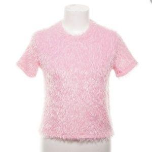 GUC trafaluc zara Pink Short Sleeves Fuzzy Shirt M